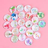 Kühlschrankmagnete, Glas, rund, Kunstdruck, gemischtes Muster, gemischte Farben, 100PCs/Tasche, verkauft von Tasche