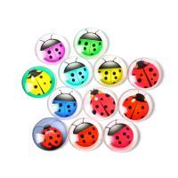 Kühlschrankmagnete, Glas, rund, Epoxidharzklebstoff, gemischtes Muster & verschiedene Stile für Wahl, gemischte Farben, 18mm, 100PCs/Tasche, verkauft von Tasche