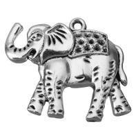 Zinklegierung Tier Anhänger, Elephant, Schwärzen, Silberfarbe, frei von Nickel, Blei & Kadmium, 36x32.5x5mm, Bohrung:ca. 2.5mm, 50PCs/Menge, verkauft von Menge