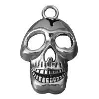 Zinklegierung Schädel Anhänger, Schwärzen, Silberfarbe, frei von Nickel, Blei & Kadmium, 22.5x37.5x9mm, Bohrung:ca. 4.5mm, 50PCs/Menge, verkauft von Menge