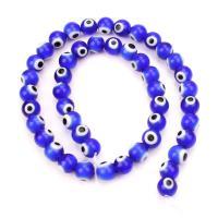 Böser Blick Lampwork Perlen, Epoxidharzklebstoff, unisex, keine, 35PCs/Strang, verkauft von Strang
