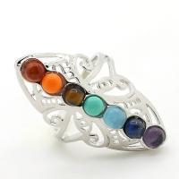 Edelstein Fingerring, Naturstein, mit Messing, unisex, farbenfroh, 38x27x21mm, verkauft von PC