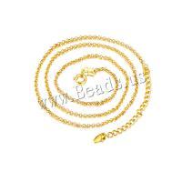 Messing Halskette, Kupferlegierung, mit Verlängerungskettchen von 2.4 inch, goldfarben plattiert, für Frau, metallische Farbe plattiert, Länge:ca. 17.7 ZollInch, 12SträngeStrang/Menge, verkauft von Menge