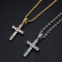 Messing Halskette, plattiert, unisex & mit kubischem Zirkonia, keine, frei von Nickel, Blei & Kadmium, 43x21mm, verkauft von Strang