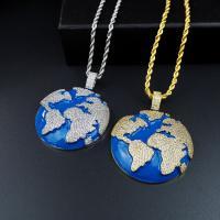 Messing Halskette, plattiert, unisex & mit kubischem Zirkonia, keine, frei von Nickel, Blei & Kadmium, 57x46mm, verkauft von Strang