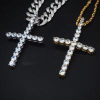 Messing Halskette, plattiert, unisex & mit kubischem Zirkonia, keine, frei von Nickel, Blei & Kadmium, 75x40mm, verkauft von Strang