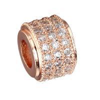 Messing Perle, plattiert, DIY & Micro pave Zirkonia, keine, 6.60x8.60mm, Bohrung:ca. 4mm, 5PCs/Menge, verkauft von Menge