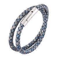 Lederband Armband, Full-Grain Rindsleder, mit Edelstahl, unisex, blau, verkauft von PC