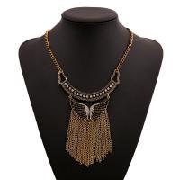 Mode-Fringe-Halskette, Zinklegierung, plattiert, für Frau & mit Strass, frei von Nickel, Blei & Kadmium, verkauft per 17.72 ZollInch Strang
