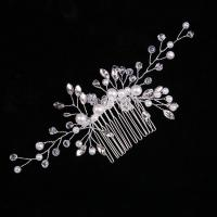 Dekoratives Haarkämmchen, Zinklegierung, mit Kristall & Glasperlen, plattiert, für Frau, frei von Nickel, Blei & Kadmium, 160x70mm, verkauft von PC
