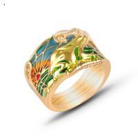 Zinklegierung Fingerring, mit Strass, unisex & Epoxy Aufkleber, goldfarben, 3PCs/Menge, verkauft von Menge