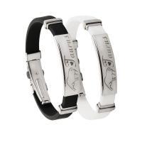 Silikon Armbänder, Edelstahl, mit Silikon, plattiert, verschiedene Muster für Wahl & für Frau, keine, frei von Nickel, Blei & Kadmium, 10x3mm, verkauft von PC