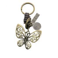 Schlüsselanhänger, Zinklegierung, mit Kunstleder, Schmetterling, antike Bronzefarbe plattiert, unisex, frei von Nickel, Blei & Kadmium, 100x50mm, verkauft von PC