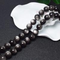 Schwarze Obsidian Perlen, rund, DIY & verschiedene Größen vorhanden, schwarz, verkauft per ca. 16 ZollInch Strang