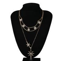 Mode-Multi-Layer-Halskette, Zinklegierung, plattiert, für Frau & mit Strass, frei von Nickel, Blei & Kadmium, 47mm, verkauft von Strang
