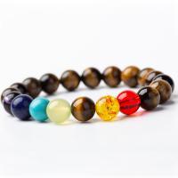 Natürliche Tiger Eye Armband, Tigerauge, mit Naturstein & Zinklegierung, unisex & verschiedene Größen vorhanden, keine, 200mm, 2PCs/Menge, verkauft von Menge