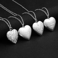 Mode Medaillon Halskette, Zinklegierung, Herz, silberfarben plattiert, unisex & Oval-Kette & verschiedene Stile für Wahl, frei von Nickel, Blei & Kadmium, verkauft per ca. 20 ZollInch Strang