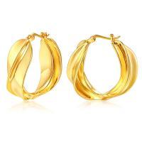 Messing Huggie Hoop Ohrringe, für Frau, Goldfarbe, 22x26mm, 2PaarePärchen/Menge, verkauft von Menge