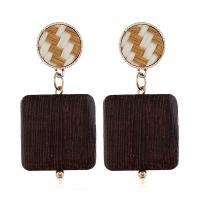 Holz Ohrring, goldfarben plattiert, für Frau, Kaffeefarbe, 52x25mm, verkauft von Paar