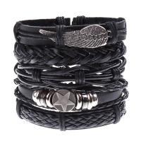 PU Schnur Armbänder, PU Leder, mit Zinklegierung, plattiert, für den Menschen, 60x170x180mm, Länge:ca. 23.62 , verkauft von Paar