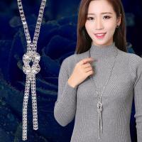 Zinklegierung Pullover Halskette, platiniert, einstellbar & für Frau & mit Strass, frei von Nickel, Blei & Kadmium, 145mm,7mm, verkauft per ca. 32 ZollInch Strang