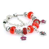 European Armband, Zinklegierung, mit Lampwork, plattiert, verschiedene Größen vorhanden & für Frau & mit Strass, rot, 5mm, 5SträngeStrang/Menge, verkauft von Menge