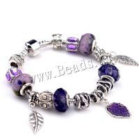 European Armband, Zinklegierung, mit Lampwork & Messing, plattiert, verschiedene Größen vorhanden & für Frau, violett, 5SträngeStrang/Menge, verkauft von Menge
