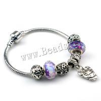 European Armband, Zinklegierung, mit Lampwork, plattiert, verschiedene Größen vorhanden & für Frau, violett, 5SträngeStrang/Menge, verkauft von Menge