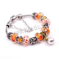 European Armband, Zinklegierung, mit Lampwork & Messing, plattiert, verschiedene Größen vorhanden & für Frau, rote Orange, 5SträngeStrang/Menge, verkauft von Menge