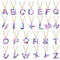 Pullover Kette Halskette, Harz, mit Verlängerungskettchen von 2.7inch, goldfarben plattiert, Buchstaben sind von A bis Z & Twist oval & für Frau, keine, verkauft per ca. 23.6 ZollInch Strang