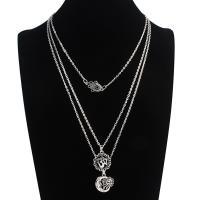 Mode-Multi-Layer-Halskette, Zinklegierung, antik silberfarben plattiert, Rolo Kette & für Frau, frei von Nickel, Blei & Kadmium, 17mm,20mm, verkauft per ca. 22 ZollInch Strang