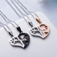 Ehepaar Halskette, Edelstahl, Herz und Schlüssel, plattiert, Oval-Kette & verschiedene Stile für Wahl & für paar, keine, 40x32mm, Länge:ca. 17.3 ZollInch, 2PCs/setzen, verkauft von setzen