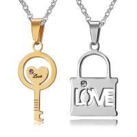 Ehepaar Halskette, Edelstahl, Lock and Key, plattiert, Oval-Kette & Micro pave Zirkonia & für paar, 35x16mm,35x13mm, Länge:ca. 19.6 ZollInch, 2PCs/setzen, verkauft von setzen