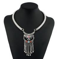 Mode-Fringe-Halskette, Zinklegierung, plattiert, für Frau & mit Strass, keine, frei von Nickel, Blei & Kadmium, 50x100mm, verkauft per 15.7 ZollInch Strang