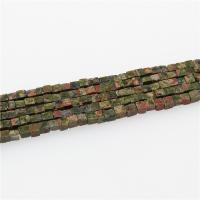 Unakit Perlen, Unakite, Quadrat, poliert, DIY, gemischte Farben, 4x4mm, Länge:ca. 15.35 ZollInch, 5SträngeStrang/Menge, verkauft von Menge
