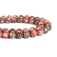 Leopardhaut Stein, rund, DIY & verschiedene Größen vorhanden, rot, verkauft per ca. 15 ZollInch Strang