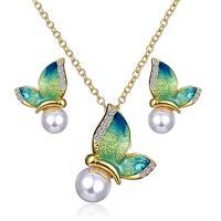 Zinklegierung Schmucksets, Ohrring & Halskette, mit Kunststoff Perlen, plattiert, für Frau & mit Strass, frei von Nickel, Blei & Kadmium, 2.5x2cm,1.8x1.8cm, Länge:20.4 ZollInch, verkauft von setzen