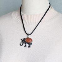 Unisex Halskette, Zinklegierung, mit Edelstein, Elephant, antik silberfarben plattiert, verschiedenen Materialien für die Wahl, keine, frei von Nickel, Blei & Kadmium, 50x43x10mm, verkauft per ca. 17.7 ZollInch Strang