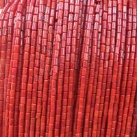 Natürliche Korallen Perlen, Koralle, Zylinder, poliert, DIY, rote Orange, 3x7mm, Länge:ca. 15 ZollInch, 10SträngeStrang/Menge, verkauft von Menge