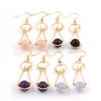 Edelstein Ohrringe, mit Messing, goldfarben plattiert, für Frau, keine, 60x10mm, verkauft von Paar