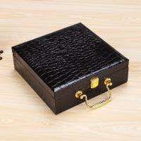 PU Leder Geschenkkarton, handgefertigt & Krokodilkorn, 205x205x70mm, verkauft von PC