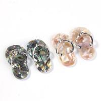 Natürliche Seeohr Muschel Anhänger, Edelstein, Pantoffel, silberfarben plattiert, für Frau, keine, 41x23mm, verkauft von PC