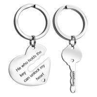 Edelstahl-Schlüssel-Verschluss, Edelstahl, Herz und Schlüssel, für paar, originale Farbe, 30x26mm,15x33mm, verkauft von Paar
