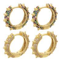 Messing Leverback Ohrring, goldfarben plattiert, für Frau & mit Strass, keine, 20x4x18mm, 20PaarePärchen/Menge, verkauft von Menge