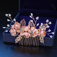 Dekoratives Haarkämmchen, Zinklegierung, mit Kunststoff Perlen, plattiert, verschiedene Stile für Wahl & für Frau, Rosa, frei von Nickel, Blei & Kadmium, verkauft von Strang