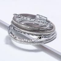 PU Schnur Armbänder, Zinklegierung, mit PU Leder, plattiert, für Frau, keine, frei von Nickel, Blei & Kadmium, 380mm, verkauft per ca. 14.96 ZollInch Strang