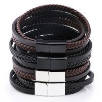 PU Schnur Armbänder, Zinklegierung, mit PU Leder, plattiert, für den Menschen, keine, frei von Nickel, Blei & Kadmium, 180-190mm, verkauft von Strang