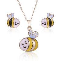 Zinklegierung Schmucksets, Ohrring & Halskette, für Frau, goldfarben, 3SetsSatz/Menge, verkauft von Menge