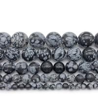 Schneeflocke Obsidian Perle, rund, poliert, DIY & verschiedene Größen vorhanden, keine, verkauft von Strang