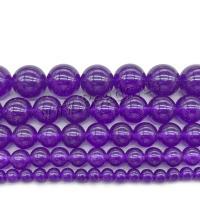 violetter Chalzedon Perle, rund, poliert, DIY & verschiedene Größen vorhanden, violett, verkauft von Strang